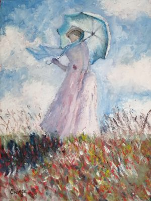 Woman with parasole leaning to the left after Monet