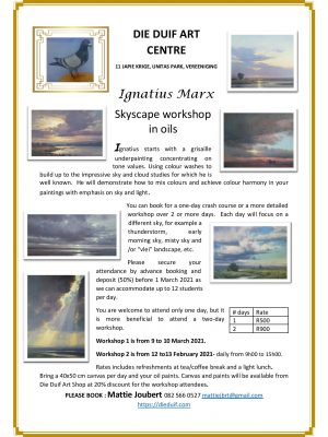 Ignatius Marx skyscape workshop in oils